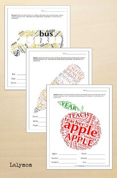 Back to School Printables - 3 Free Printable Word Cloud Word Finds perfect for Back to school literacy work!