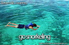 Before I die, I want to...Go Snorkeling. Follow my bucket list and create your own @ BucketMate.com