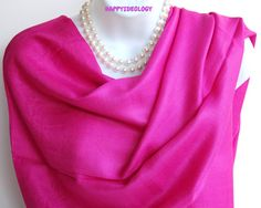 Pink Pashmina Scarf.Silk Fuchsia Pink by HappyIdeology on Etsy