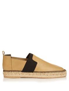 BALENCIAGA Elastic-Panel Leather Espadrilles. #balenciaga #shoes #flats