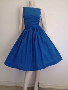 Betty Draper Mad Men complete costume including vintage 1950's Blue Dress