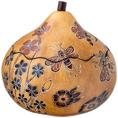Whimsy Bees - Medium Carved Gourd Box