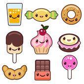 Конфеты каваи символов еды Векторная Графика