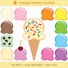 Ice Cream Clip Art Ice Cream Party Graphics by Mango Honey Studios  #digiscrap #scrapbooking #illustration #kids