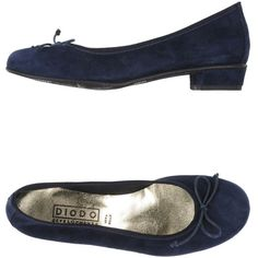 Diodo Ballet Flats ($130) ❤ liked on Polyvore featuring shoes, flats, dark blue, round cap, ballerina shoes, bow flats, rubber sole shoes and leather ballet flats