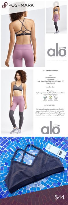 NEW!  ALO Yoga Westerly bra- stormy heather/black Brand new 'Westerly bra' by ALO Yoga is absolutely fabulous!  Available in a neutral 'stormy heather/black', it is a total wardrobe staple that will literally look amazing under everything! Crafted from beautiful, anti microbial fabric with an incredible 4-way stretch that will wick away moisture to keep you feeling as amazing as you look!  Retails at $55!  Size is Large.  Don't miss this one!  No trades please.  Brand new, never worn with…