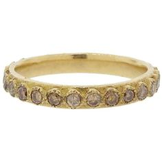Armenta Champagne Diamond Stacking Band In Yellow Gold ($1,845) ❤ liked on Polyvore