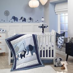 Design a playful environment for your little dreamer with the Lambs & Ivy Indigo Elephant Crib Bedding Set. Sporting a patchwork of elephant pals in soft blue hues, this cozy set includes all essentials for a cute, coordinated space. Elephant Crib Bedding, Elephant Baby Blanket, Baby Crib Bedding Sets, Elephant Nursery Boy, Cot Bedding, Crib Sheets, Comforter Set, Baby Boy Rooms, Baby Boy Nurseries
