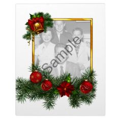 #Customize this vector style #Christmas #frame with your own #photograph! Features #gold #snowflake studded #red #glass #Christmas #ornaments, a #golden #bell, and lively #green #fir branches decorating a gold ribbon frame, all in a feathery vector #art style. - - -   Come see lots more designs at my Z-store!  http://tinyurl.com/leo9be9