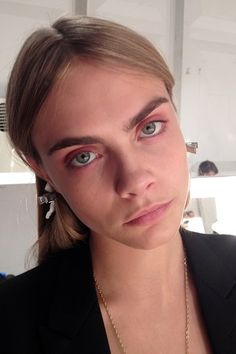 My girl crush Cara! LFW: Burberry Spring Summer 2014 Backstage Beauty (Vogue.com UK)