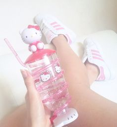 #hellokitty #pink #adidas #shoes #girly #kawaii #drink #cute