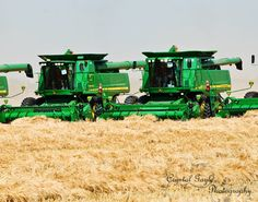 In Formation John Deere Combine Green Yellow by CrystalGaylePhoto, $55.00