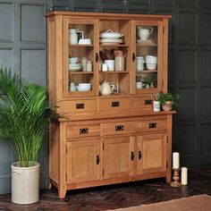 The Canterbury Oak Large 3 Door 3 Drawer Sideboard and Hutch is currently in the SALE for only 669.99 for the complete set!  Hurry - Only while stocks last!