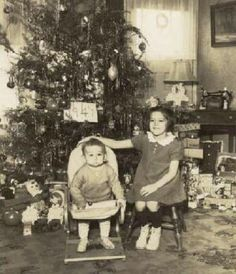 Vintage Christmas Photograph ~ Children posing before the Christmas Tree. * 1941 ~ Notice the old sewing machine in the back right side.