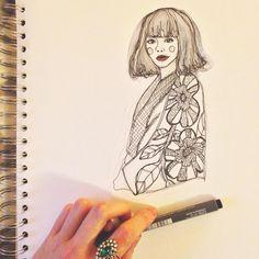 Fashion drawing watercolour illustration sketchbook art print pattern by Siobhan Murchie @shivmakesthings 💅🏻✨ - - #illustration #fashionillustration #print #pattern #drawing #art #ink #painting #fashionblogger #sketchbook #model #sketch #fineart #artclub #illustrator #artist #artsharecircle #floral #design #styleblogger #handmade #craft #artyfarty #birminghamartists #vintage #creative #designer #japanesefashion #kimono