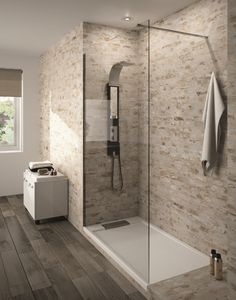 Serio Italian shower tray and Lago wall of Aquarine - Bathroom 01 House Bathroom, Home, Dream Bathrooms, Remodel, Bath Renovation, Shower Room, Modern Bathroom, Home Deco, Bathrooms Remodel