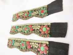 Set of three Velcro closure embroidered bracelets black stone sequin #HandmadeEmbroidered #Bangle