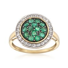 .70 ct. t.w. Pave Emerald and .28 ct. t.w. CZ Ring in 14kt Gold Over Sterling