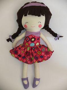Muñeca de trapo trenzas de de amor y trapo por DaWanda.com
