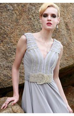 Affordable Chiffon A-line Floor-length V-neck Sleeveless Evening Dresses