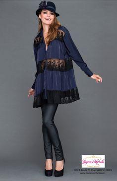 cdaf5bcc7bda9 We LOVE this Navy  amp  Black Lace Blouse! New Filomena Fernandez  collection