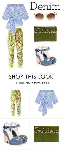 """""""giddy for gingham"""" by vkrene ❤ liked on Polyvore featuring Etro, Johanna Ortiz, Jimmy Choo, Charlotte Olympia and Thierry Lasry"""