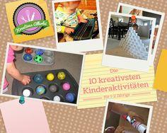 10 tolle DIY Aktivitäten für Kleinkinder. Tolle Spiele aus Alltagsgegenständen: Rasierschaum-Tüte, Versteckspiel, Gitarre aus einer Kastenform.
