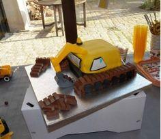 Gâteau pelleteuse (Anniversaire thème Chantier)