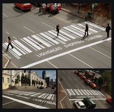 Awesome examples of creative zebra crossing crosswalk art. Street Marketing, Guerilla Marketing, Viral Marketing, Marketing Branding, Business Marketing, Passage Piéton, Pedestrian Crossing, Floor Graphics, Urban Intervention