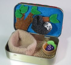 Tiny Sloth Baby felt plush Altoid tin play set with by wishwithme