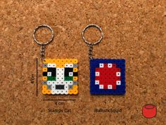 Minecraft stampy cat ballistic squid perler beads hama beads fuse beads keyring