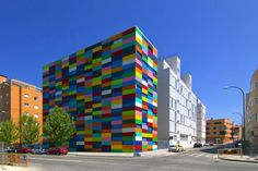 Colourful building in Carabanchel, Madrid.