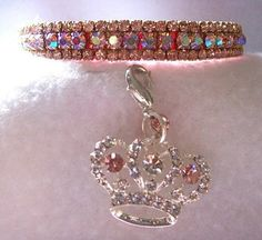 Prissy Pink Aurora 38 WIDTH Rhinestone Pet Dog Cat Collar Sz Small Fits 7129 snug neck circumference NOT collar length or size *** Find out more about the great product at the image link.