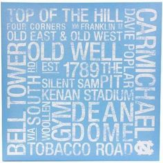 North Carolina Tar Heels (UNC) x Square College Colors Subway Art Canvas North Carolina Colleges, University Of North Carolina, Unc Chapel Hill, Four Tops, Unc Tarheels, Subway Art, Subway Signs, Tar Heels, Alma Mater