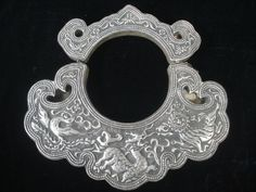 "13"" Old China Miao Folk Silver Dragon Phenix Necklace"