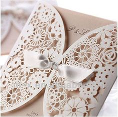 Lace invite with bow