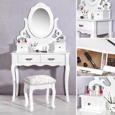 Epic XL Kosmetiktisch Spiegel und Polsterhocker Spiegelkommode Schminkkommode Tisch