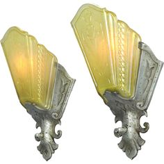 Art Deco Pair of Amber Pewter Color Slip Shade Wall Sconces by Virden (ANT-538) - Art Deco Pair of Amber Pewter Color Slip Shade Wall Sconces by Virden (ANT-538)