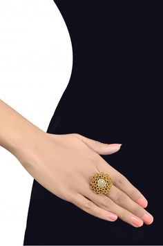 Silver Gold Plated Zircon Cluster Zardozi Floral Traditional Adjustable Ring