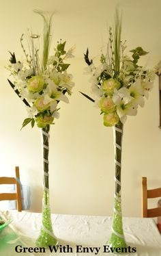 Vase Arrangements | Fresh looking green and white vase arrangement : Artificial Flowers ...