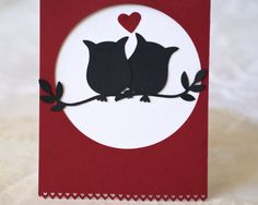 Valentine Owl Card Handmade Valentine Card by BayMoonDesign, $4.00