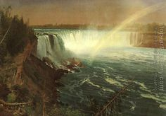 Niagara by Albert Bierstadt. Oil painting reproduction for sale, Handmade canvas painting. Land Surveyors, Albert Bierstadt, Hudson River School, Museum, Autumn Painting, Thing 1, Poster Prints, Art Prints, His Travel