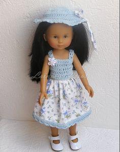 Robe bleu et blanche pour poupée Chérie de Corolle ou Paola Reina 32/33 cm : Jeux, jouets par laines-et-tissus