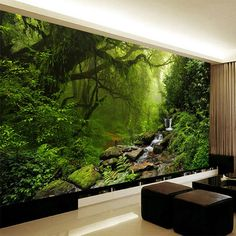 HD Beautiful Original Forest Landscape Nature Wallpaper Living Room Bedroom Green Eye Eco-Friendly Non-Woven Mural Home D Forest Landscape, Landscape Walls, Landscape Wallpaper, Landscape Design, Flower Landscape, New Nature Wallpaper, 3d Wallpaper Mural, Home Wallpaper, 3d Wall Murals