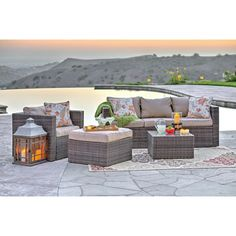 Mercury Row Azaleh 4 Piece Sectional Seating Group with Cushions & Reviews | Wayfair