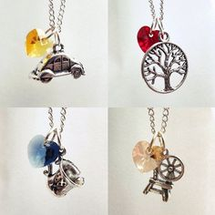 Once Upon A Time Character Necklaces - Emma (Beetle Car), Regina (Apple Tree), Belle(Chipped Cup), Rumpelstiltskin (Spinning Wheel)...more options available with Hook, Charming, Henry, Snow, Tinkerbell and Ruby omg love it so much