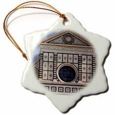 3dRose Santa Maria Novella church, Florence, Italy - EU16 BJN0091 - Brian Jannsen, Snowflake Ornament, Porcelain, 3-inch