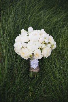 This white bouquet is pure perfection | Photography: Closer to Love Photography - closertolovephotography.com Read More: http://www.stylemepretty.com/california-weddings/2014/11/21/family-infused-old-ranch-country-club-wedding-on-a-budget/