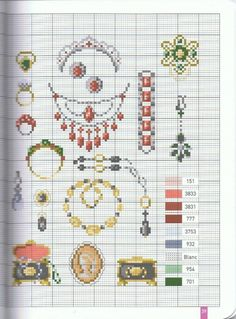 Jewelry pattern / chart for cross stitch, crochet, knitting, knotting, beading, weaving, pixel art, micro macrame, and other crafting projects.