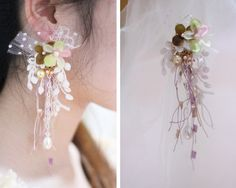 Lace and bead earrings
